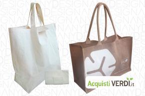 Shopping bag in cotone organico e Iuta  - Anydesign Srl - Eco Ristorazione, Imballaggi, Gadget, Per gli Alberghi, Eventi Sostenibili, Per l'Azienda